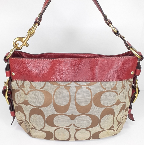Coach Handbags - Coach Zoe Signature Canvas Hobo Red AS IS Purse
